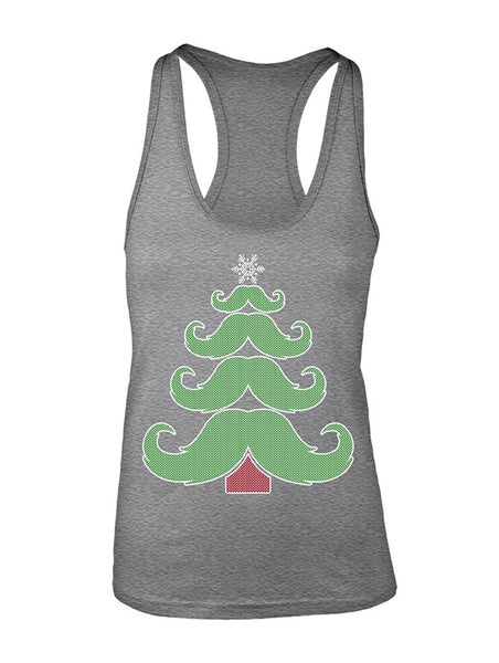 Manateez Women's Merry Christmas Moustache Tree Racer Back