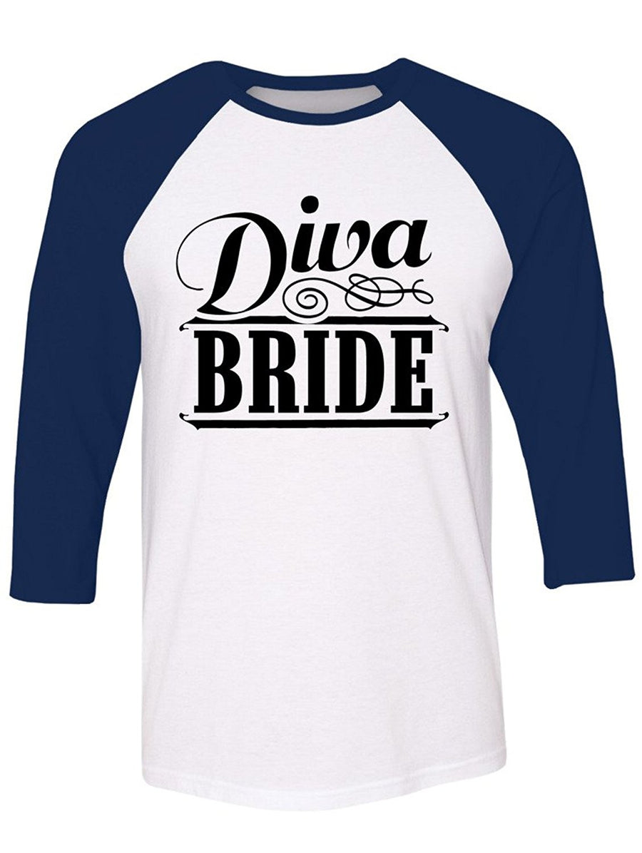 Manateez Diva Bride Bachelorette Party Raglan Tee Shirt