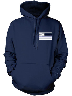 Manateez Thin Blue Line Law Enforcement American Flag Hoodie Large Black