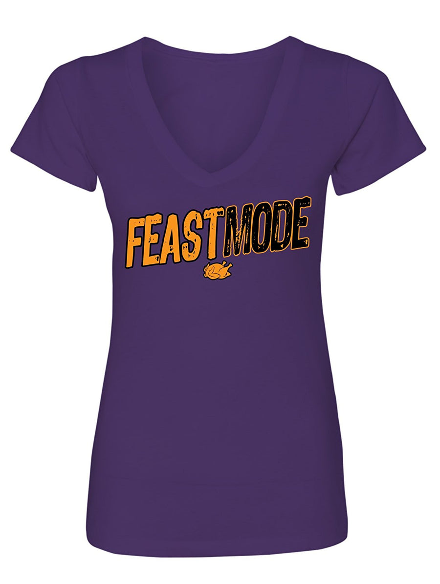 Manateez Women's Thanksgiving Dinner Feast Mode V-Neck