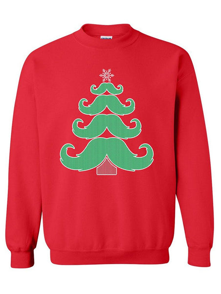 Manateez Merry Christmas Moustache Tree Crew Neck Sweatshirts