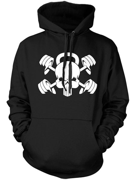 Manateez Kettlebell Skull and Cross Barbells Hoodie