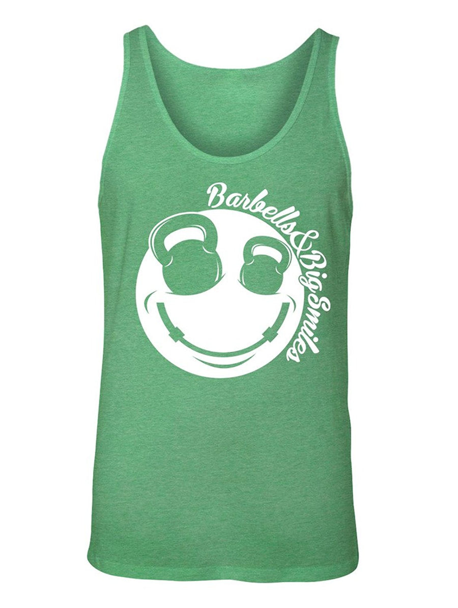 Manateez Men's Barbells & Big Smiles Smiley Face Tank Top