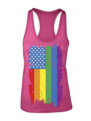 Manateez Women's American Gay Pride Rainbow Flag Racer Back