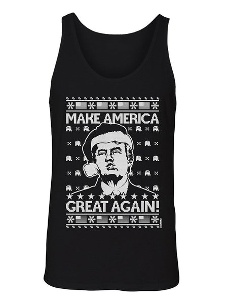 Manateez Men's Ugly Christmas Sweater Donald Trump Make America Great Again Tank Top
