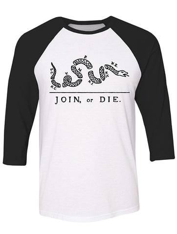Manateez America Join or Die US Constitution Cartoon Raglan Tee Shirt