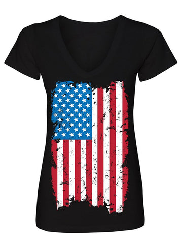 Manateez Women's USA Tattered American Flag V-Neck Tee Shirt