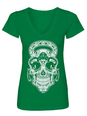 Manateez Women's Gym Rat Sugar Skull V-Neck