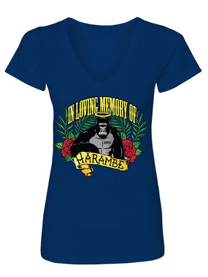 Manateez Women's Never Forget Harambe In Loving Memory 1 Year Anniversary V-Neck