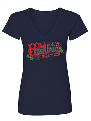 Manateez Women's Ugly Christmas Sweater Bah Humbug A Christmas Carol V-Neck