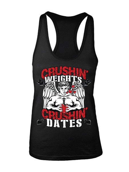 Manateez Women's Jacked Cupid Crushin Weights & Crushin Dates Valentine's Day Racer Back