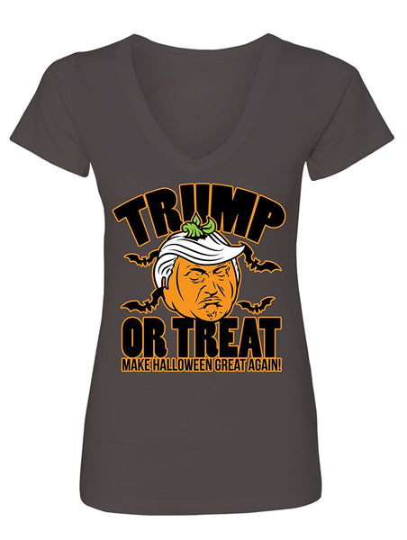Manateez Women's Scary Halloween Pumpkin Donald Trump Trick or Treat V-Neck
