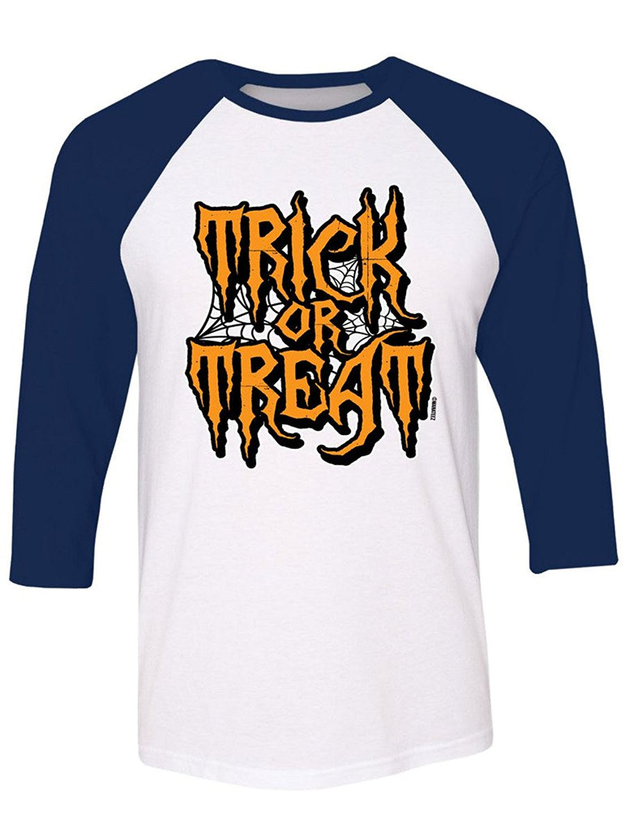 Manateez Halloween Trick or Treat Spider Webs Raglan Large Heather Gray/Navy