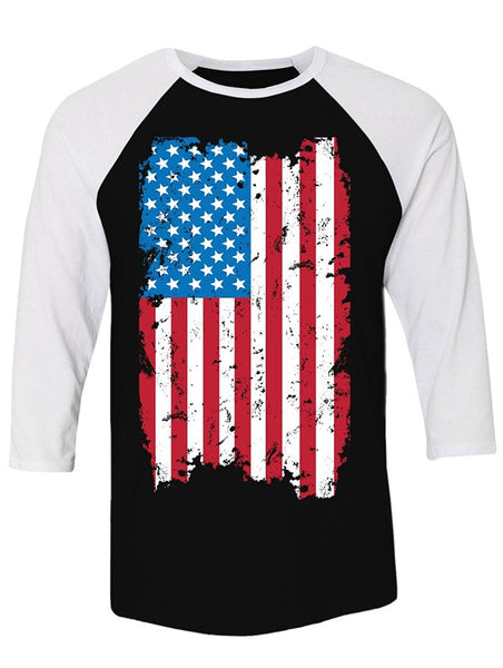 Manateez Unisex USA Tattered American Flag Raglan Tee Shirt