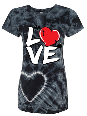 Manateez Women's Love Cupid's Arrow to the Heart Valentine's Day Tie Dye Shirt