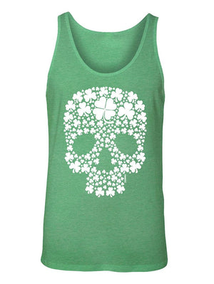 Manateez Men's ST. Patrick's Day Four Leaf Clover Candy Skull Tank Top