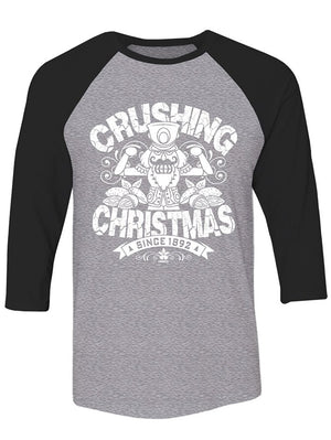Manateez The Nutcracker Crushing Christmas Raglan Tee Shirt