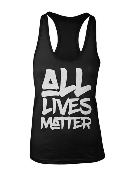 Manateez Women's All Lives Matter Racer Back Tank Top