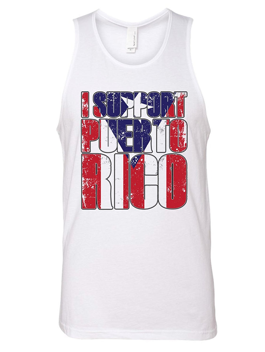 Manateez Men's I Support Puerto Rico Tank Top - Donating Profits to Hurricane Survivors in Puerto Rico