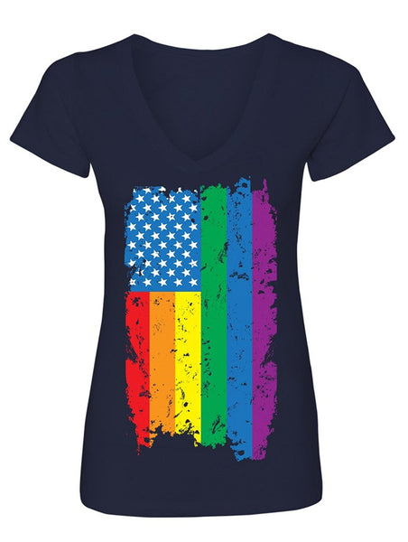 Manateez Women's American Gay Pride Rainbow Flag V-Neck