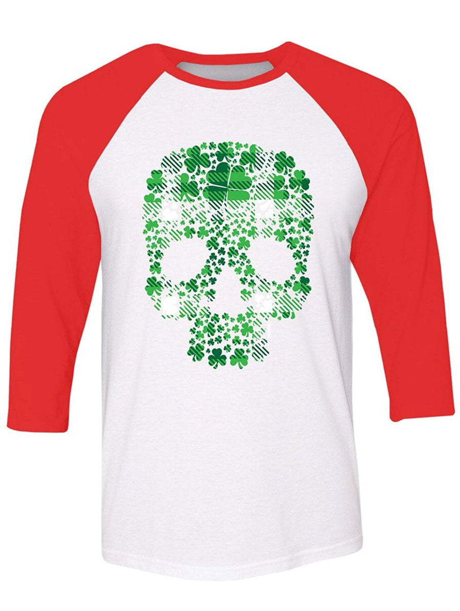 Manateez St. Patrick's Day Plaid Four Leaf Clover Candy Skull Raglan