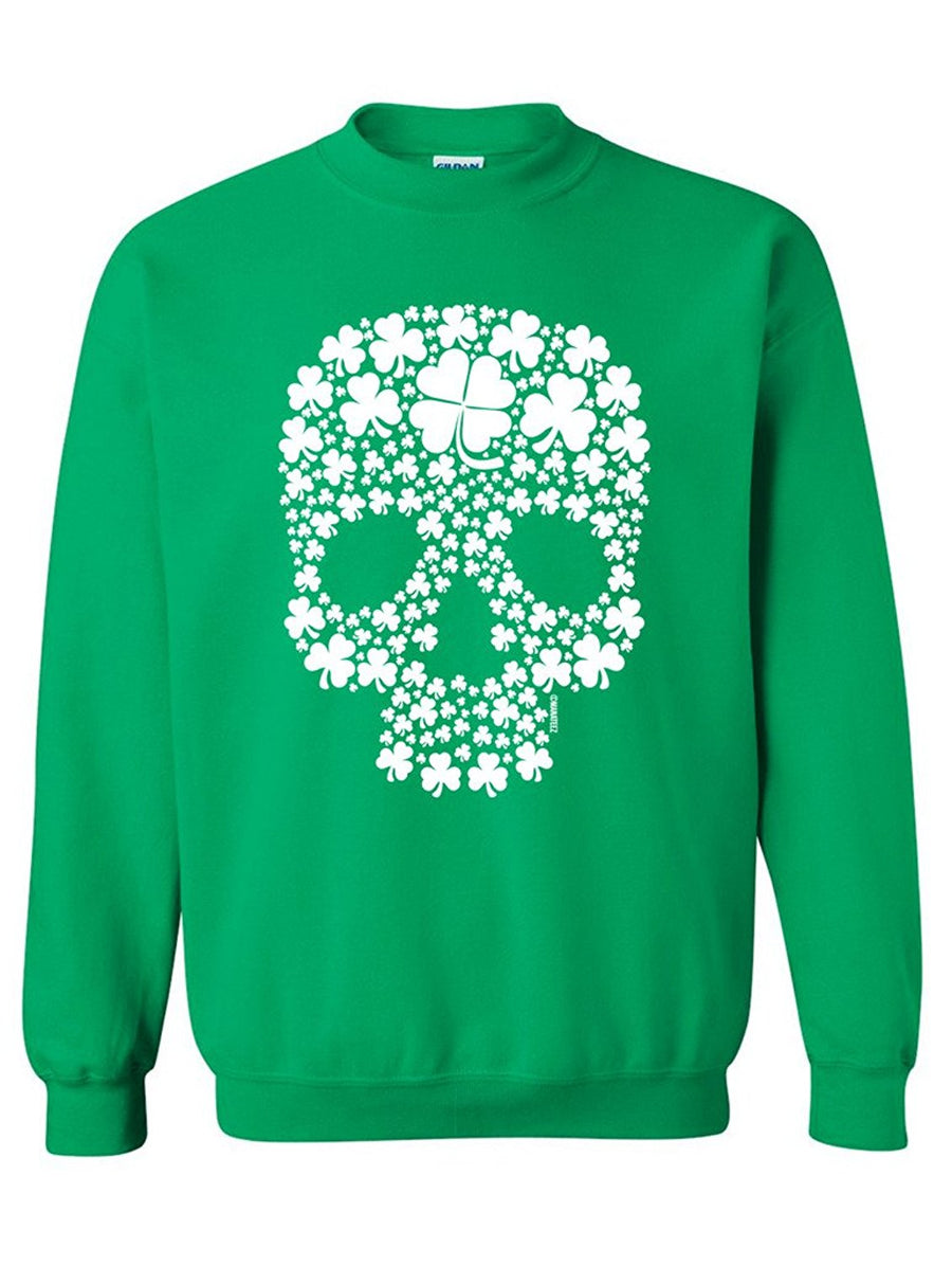 Manateez St. Patrick's Day Four Leaf Clover Candy Skull Crew Neck Shirt