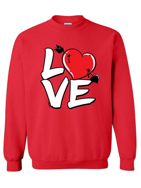 Manateez Love Cupid's Arrow to the Heart Valentine's Day Crew Neck Sweatshirt