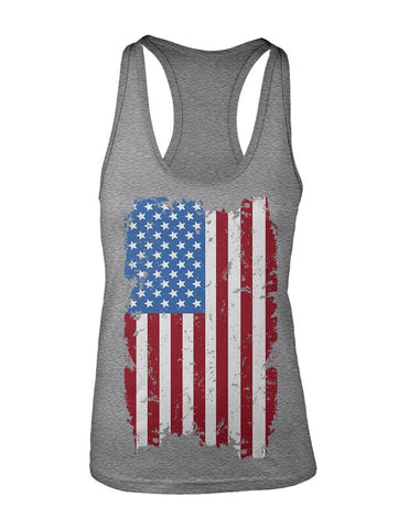 Manateez Women's USA Tattered American Flag Racer Back Tank Top