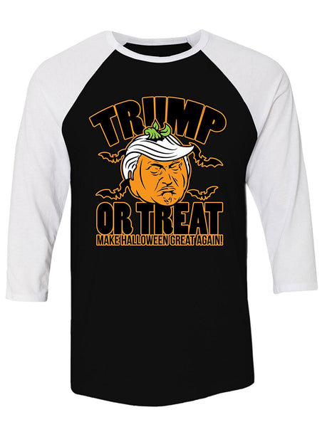 Manateez Scary Halloween Pumpkin Donald Trump Trick or Treat Raglan