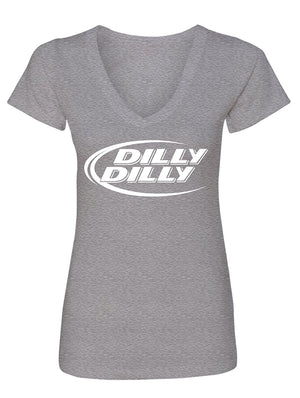 Manateez Women's Budlight Dilly Dilly Commercial V-Neck Tee Shirt
