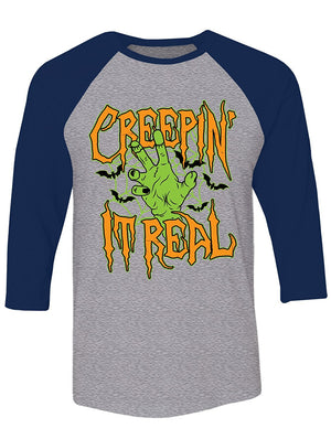 Manateez Halloween Party Zombie Creepin' It Real Raglan