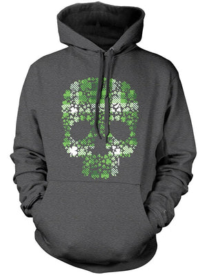 Manateez St. Patrick's Day Plaid Four Leaf Clover Candy Skull Hoodie