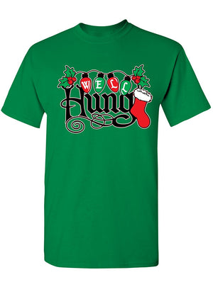 Manateez Men's Ugly Christmas Sweater Well Hung Mistletoe Tee Shirt