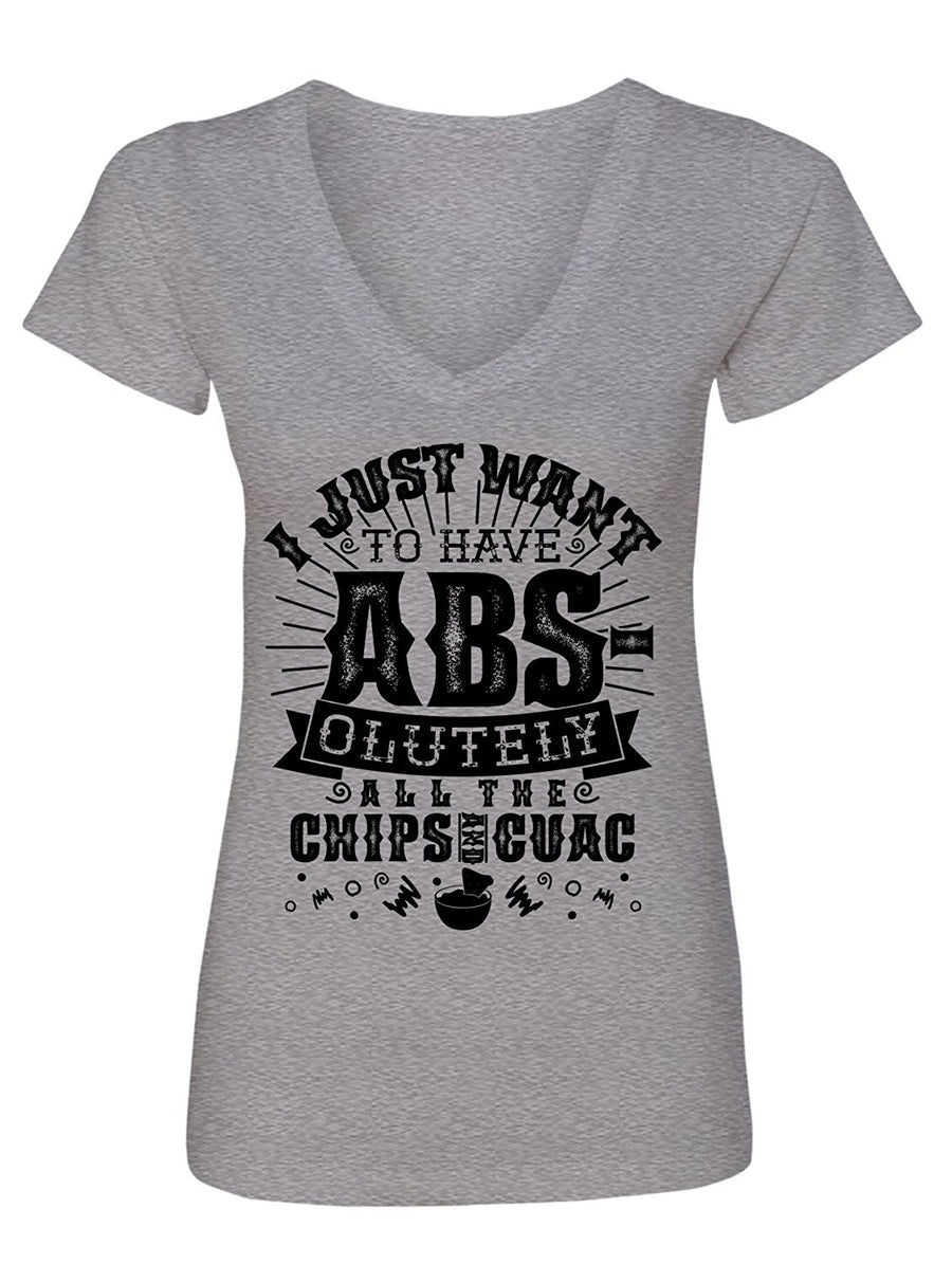 Manateez Women's Cinco de Mayo I Just Want to Have Abs olutely All The Chips & Guac V-Neck Tee Shirt