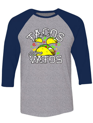 Manateez Men's Cinco de Mayo Tacos Before Vatos Raglan Tee Shirt