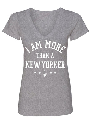 Manateez Women's I Am More Than A New Yorker V-Neck Tee Shirt