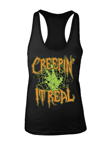 Manateez Women's Halloween Party Zombie Creepin' It Real Racer Back