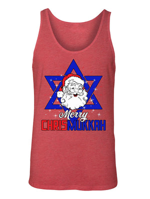 Manateez Men's Merry Christmukkah Santa Clause Star Of David Tank Top