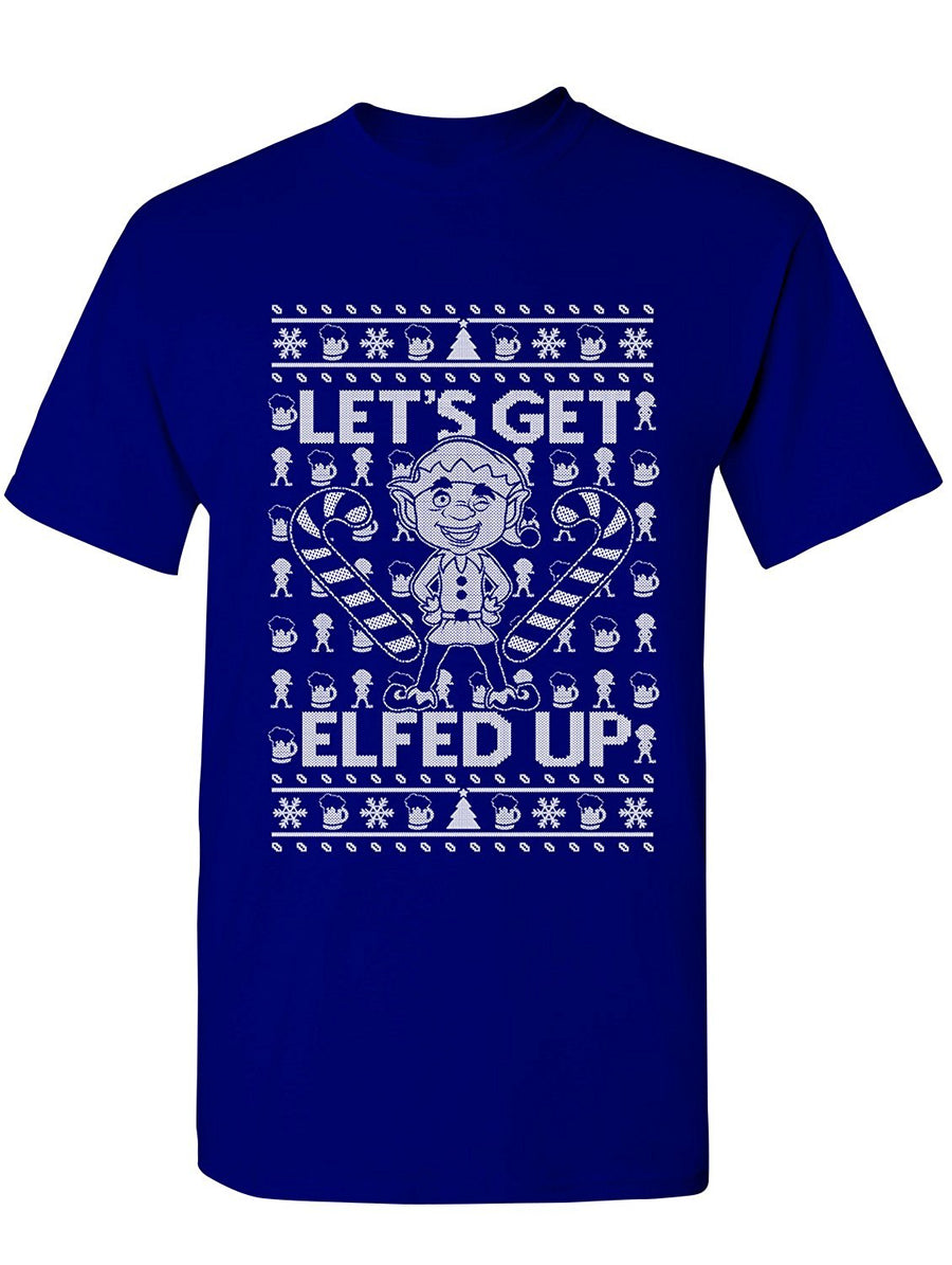 Manateez Men's Ugly Christmas Sweater Let's Get Elfed Up Tee Shirt