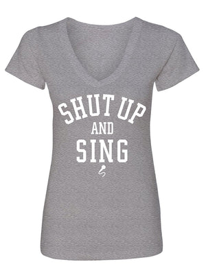 Manateez Women's Shut Up and Sing V-Neck Tee Shirt