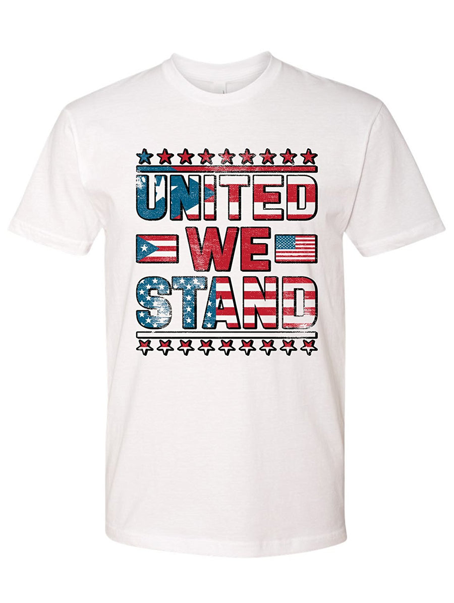 Manateez Men's United States Puerto Rico United We Stand Crew Neck Tee Shirt - Donating Profits to Hurricane Survivors in Puerto Rico