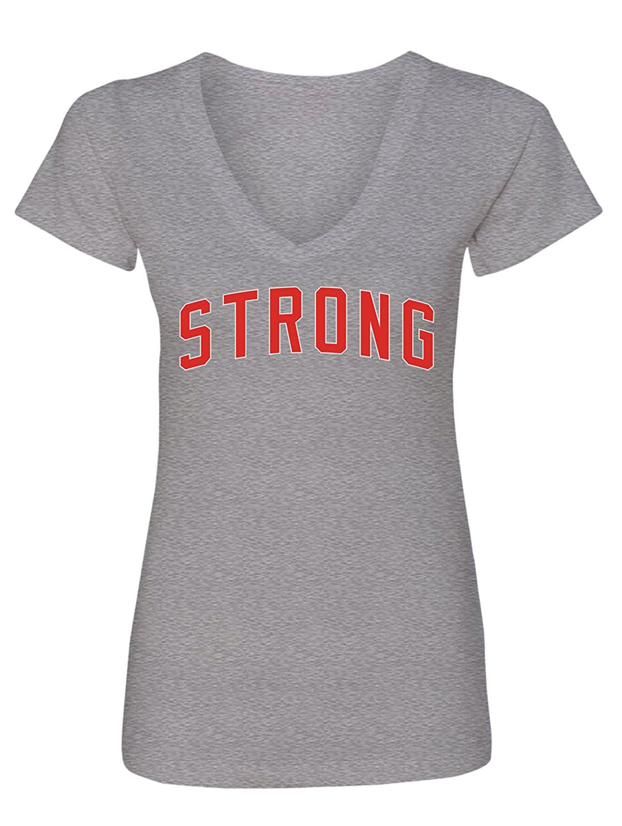Manateez Women's I'm Strong and Proud V-Neck Tee Shirt