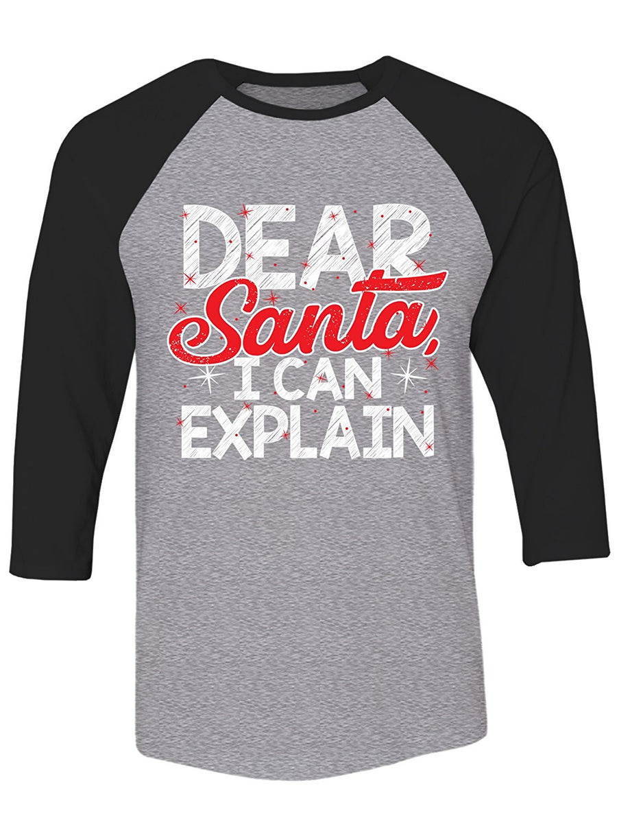 Manateez Ugly Christmas Sweater Naught List Dear Santa I Can Explain Raglan