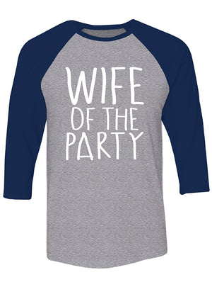 Manateez Wife of The Party Raglan Large Heather Gray/Black
