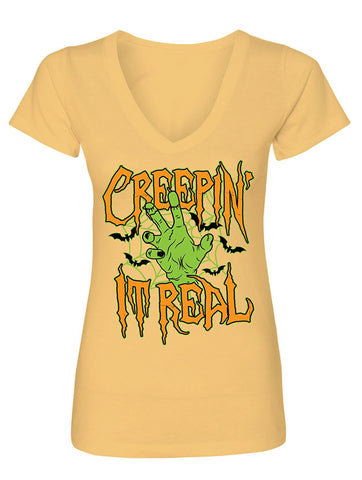Manateez Women's Halloween Party Zombie Creepin' It Real V-Neck