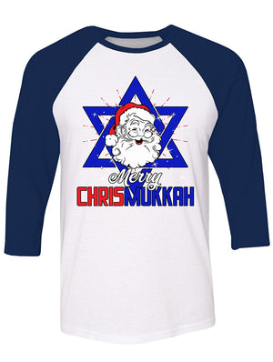 Manateez Merry Christmukkah Santa Clause Star Of David Raglan Tee Shirt