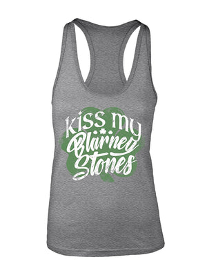 Manateez Women's ST. Patrick's Day Kiss My Blarney Stones Racer Back Tank Top