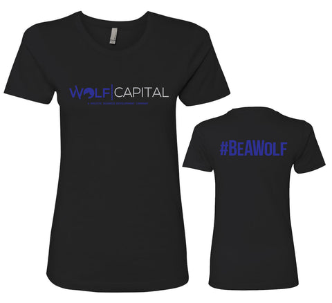 Classic Original Logo Wolf Capital Ladies Crew Neck Tee Design 1