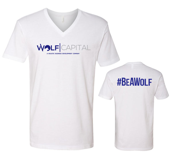 Classic Original Logo Wolf Capital Mens V Neck Tee Design 1