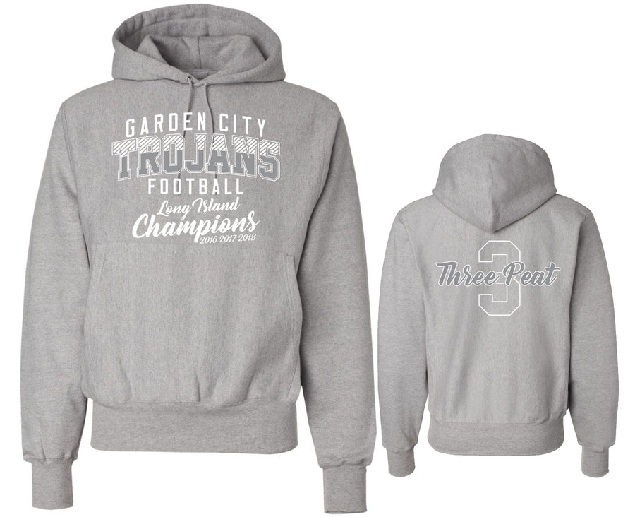 Unisex Trojans Garden City Football Heavy Heather Gray THREEPEAT Hoodie Champion S101